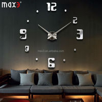 2014 New 3D Creative Large DIY Mirror Digital Wall Clock Acrylic EVA Stickers Silent Clocks Watches Home Decor