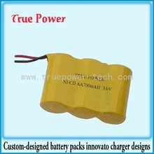 High quality 3.6V AA 700mah rechargeable battey ni-cd battery pack