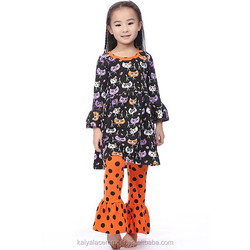 2015 baby girls halloween cat top and orange with black polk dot pant sets,girls fall boutique outfits