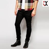 2015 skinny fit black unwashed stretch carbon jeans for men wholesale cheap jeans, mens stretch jeans JXQ1067