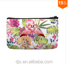 Watercolor Tropical floral and a Pair of flamingos Bird Pattern Print Small Cosmetic Bag Wristlet hand bag