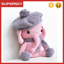 V-728 hand knit baby animal elephant amigurumi doll toys knit pattern baby pet amigurumi toys for baby gift