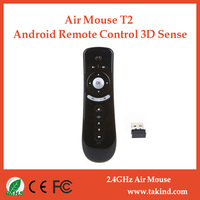 6-Axis Gyro Smart Remote controller 2.4g Wireless Air Mouse T2 for android tv box
