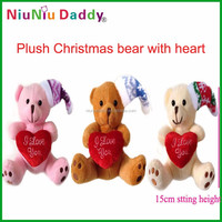 15cm Plush Christmas bear with heart Plush toys Teddy bear with 3 colors wholesale 30pcs/lot