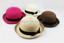 outdoor straw bowler hats sun caps with small bowknot