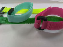 Red pink and blue Customized velcro cable tie with black plastic buckle
