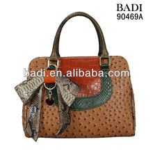ladies fashion ostrich and snake leather tote handbag with bow tie high quality factory price OEM handbag