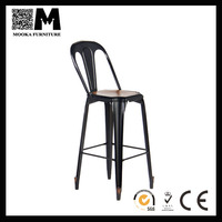 High Quality French Style Antique Vintage Metal High Back Bar Chair