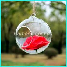 cut clear glass ball decorative hangings, hanging bulb glass globe terrarium