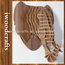 Elephant head design wooden wall hangings iw9898007-6