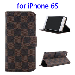 2015 amazon top selliing Deluxe Grid Pattern PU Leather Mobile Phone Case for iPhone 6S