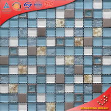 HSD29 Australia Rustic Style Square 304 Stainless-Steel 8mm Glass Mosaic Wall Tiles Living Room Kitchen Decoration