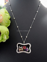 glass blank locket dog bone shape locket pendant necklace wholesale