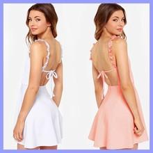 High Quality Sexy Women Strap High Waist Sleeveless Mini A-Line Club Party one piece Dress EU000756