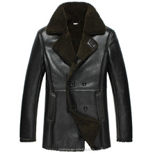 Hot style real sheep skin fur made coat men long leather coat