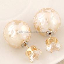 Jewelry Factory 2015 Fashion Office Lady jewelry earring craft, double sided earrings, double ball earrings