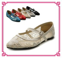 latest design lady flat shoes lace upper ballerina footwear