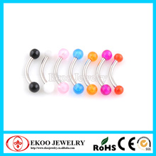 Curved Eyebrow Ring with Acrylic UV Balls Eyebrow Piercing