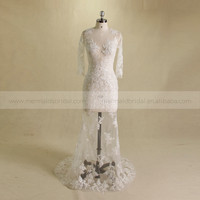 Charming sexy fish style scoop neck long sleeve long lace bottom tulle wedding dress