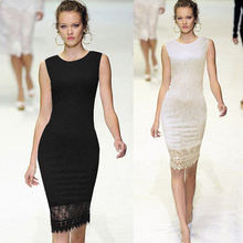Ladies designed Elegant Tunic Lace Crochet Bodycon Shift Party Evening Career Pencil Dress plus size SV001577