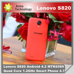 """Original Lenovo S820 Android Mobile phone Smartphone MTK6589 Quad core 1GB RAM 4GB ROM 4.7"""" IPS HD Screen Russian Cell Phones"""