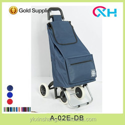 2015 dark blue fabric insulated shopping trolley bag for supermarkets with ice bag