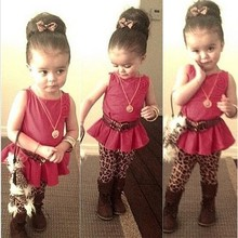 Baby Girl Clothing Sleeveless Peplum Tops Floral Brooch Decor And Leopard Leggings 2PCS Set From Asian SV018913