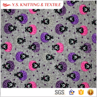 Bear printed super soft velvet polyester spandex stretch knitted fabric, sleep wear fabric