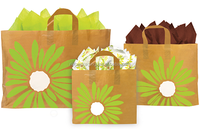 foldable recycled plastic shoppers with bright green daisies