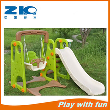 kindergarten plastic slide with swing basketball on sell