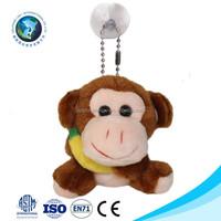 Cheap wholesale plush toy monkey with banana custom brown mini soft stuffed plush monkey keychain
