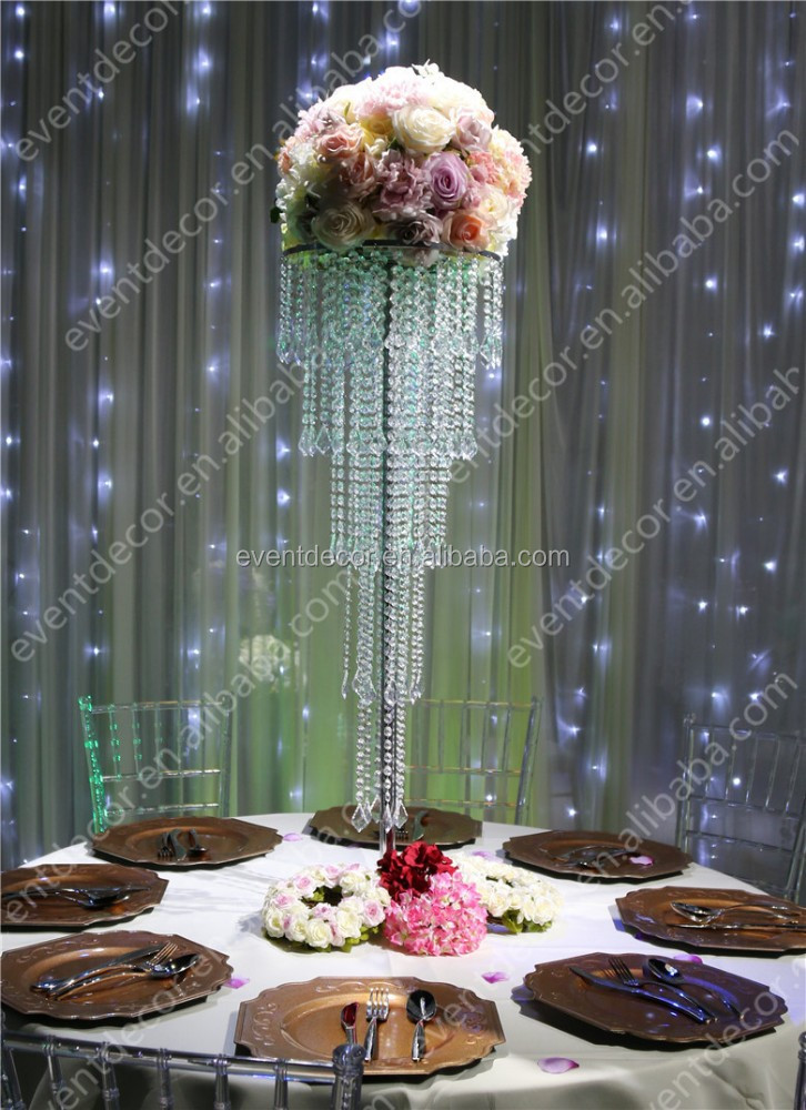 Wholesale 5 tiers crystal centerpieces for wedding table for Cheap wedding decorations for tables