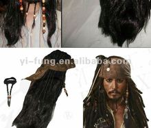 Wholesale 10pcs High-quality party wigs Captain Jack Wig Pirates of the Caribbean 4 Pirate simulation wig