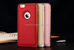 Whoesale Deluxe Aluminum Bumper Frame For Apple iPhone 6 PU Leather Back Cover
