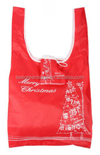 Eco-friendly 190T Polyester Christmas Eco Folding Bag with Stocking Pouch
