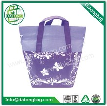 Purple drawstring non woven fancy washable custom reusable shopping bag