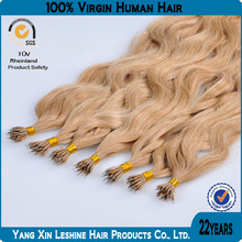 2014 unprocessed full cuticle top quality nano beads with hair