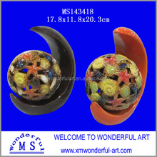 wholesale home decor stoneware hollow ball with holder