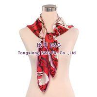 BG80479 real silk scarves with carnation print 2015 women