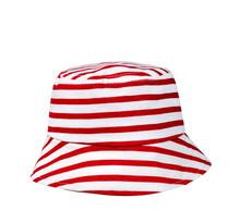 infant kids baby children red stripe cotton bucket boonie sun hat