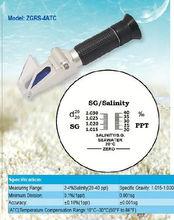 Hand held lighted salinity aquarium 2-4% salinity refractometer Specific gravity: 1.015-1.030sg ZGRS-4ATC