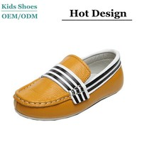 100% genuine leather children casual shoes OEM slip on kids footware from factory