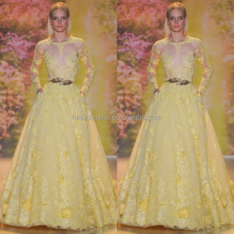 Exquisite 2014 Yellow Ball Gown Wedding Dress Jewel Neck Long Sleeve ...