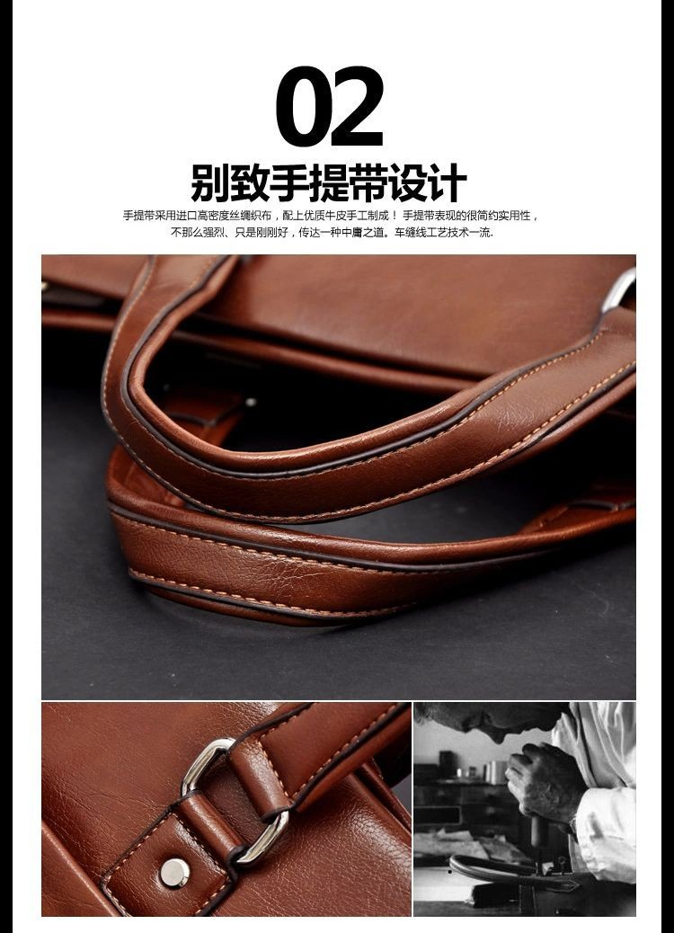 Vintage Men Handbag Pu Leather High Quality Shoulder Bag Metal