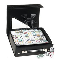 acrylic double 18 domino game set with leather box