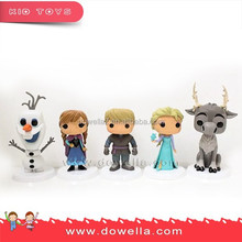 Frozen 3D plastic Figurine with 6P free PVC, food grade ABS material
