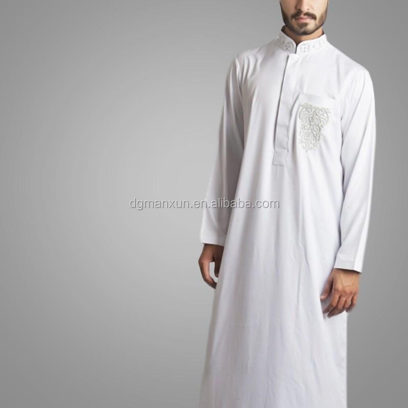 Newest Saudi Beaded Embroidered Jubbah Simple High Quality Dubai Men Thobe 1.jpg