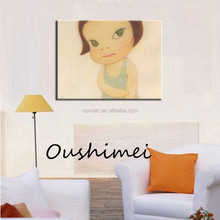 cute short black hair traditional style girl baby home decoration handmade oil painting low prices oil painting in canvas