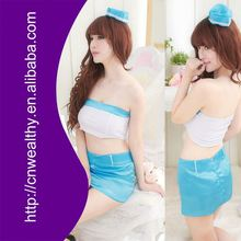 Hot sale and fashionablen blue spandex and Nylon adult police costume