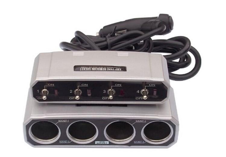 ถูก รถยนต์ไฟแช็กSocket Splitter 4วิธีที่มีสวิทช์DC 12โวลต์/ 24โวลต์ออโต้คาร์อะแดปเตอร์ชาร์จไฟ อิเล็กทรอนิกส์ยานยนต์